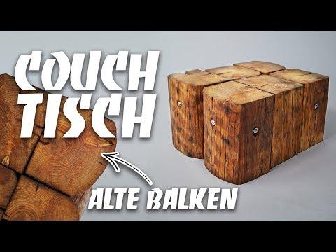 Couchtisch selber bauen - DIY upcycling Anleitung zum selber machen aus alten Holzbalken   EASY ALEX