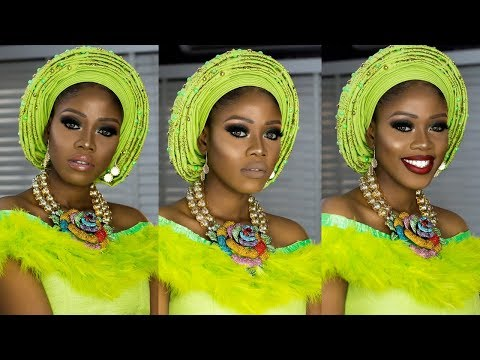 BASIC TO BRIDE 01: Nigerian/Yoruba Bridal Makeup And Gele Tutorial // Green Smokey Eyes