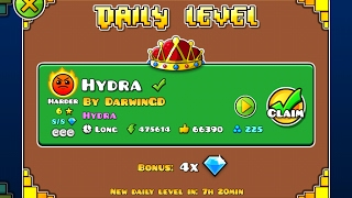 Geometry Dash [2.1] | Daily Level 01/02/17 | Hydra by DarwinGD (3 coins)