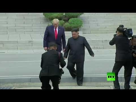 فيديو| ترامب أول رئيس أميركي يدخل كوريا الشمالية