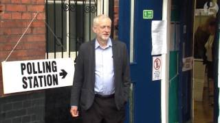 Labour leader Jeremy Corbyn on his way to vote