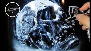 Airbrush Painting Realistic Skull | Harley-Davidson | By Igor Amidzic