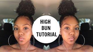High Bun On Natural Hair Using A $12 Drawstring Ponytail