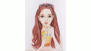 Уроки рисования. Как нарисовать девушку с коктейлем цветными карандашами   Art School