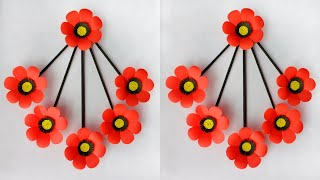 Diy Paper Flower Wall Hanging | Paper Flower Wall Decoration Ideas | Easy Wall Hanging Craft Ideas