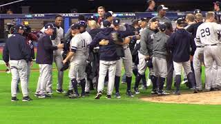 New York Yankees celebrate on the field and locker room after beating the Indians in ALDS | Kholo.pk