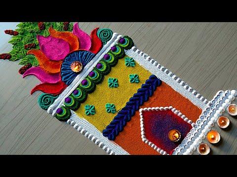 hindu rangoli tulsi plant for pooja by jyothi rathod