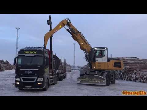 4K  Liebherr LH60 Unloading Timber Trucks