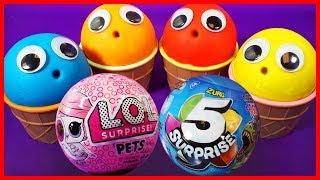 Play Doh Ice Cream Cups Learn Colors ,LOL Surprise Dolls, Zuru 5,Shopkins, Peppa Pig Eggs
