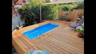 Pooldeck aus Holz für Aufstellpool 2 x 4 Meter (INTEX / BESTWAY)