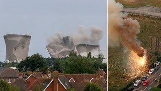 video: Pylon explodes into 'fireball' seconds after Didcot power station demolition