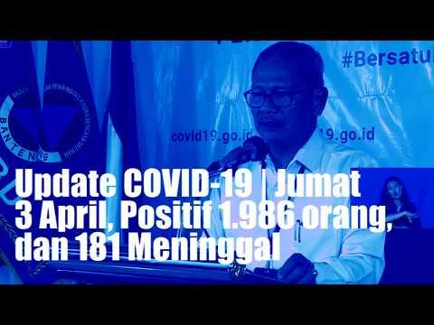 Update COVID-19 | Jumat 3 April, Positif 1.986 orang, dan 181 Meninggal