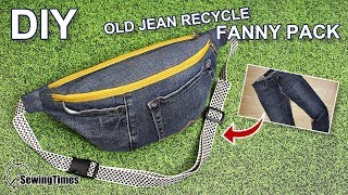 DIY Old Jeans Fanny Pack 슬링백 만들기 | Recycle Old Jeans To Sling Bag [sewingtimes]