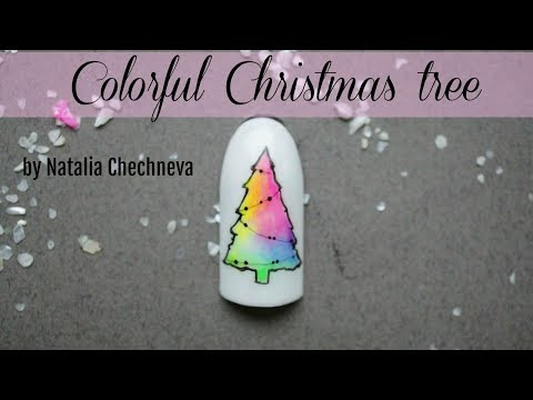 Colourful Christmas tree tutorial ? Winter nail design