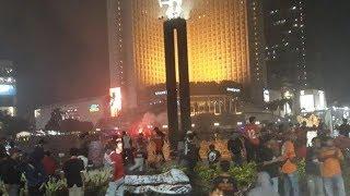 The Jakmania Rayakan Kemenangan Persija di Bundaran HI