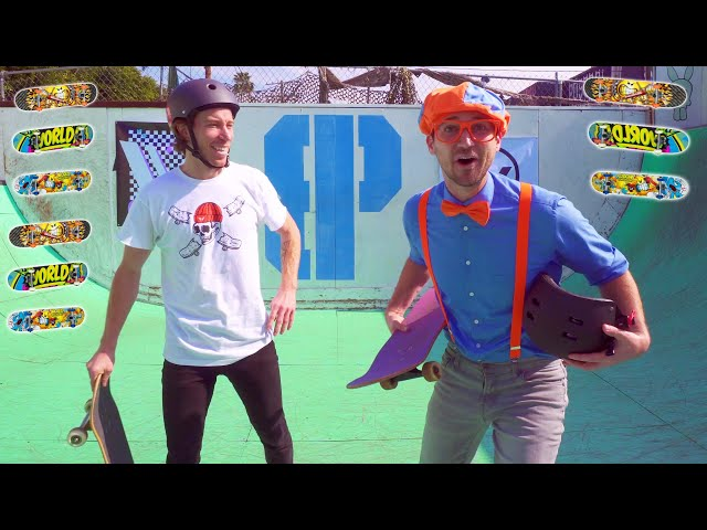 Blippi Learns about Skateboarding with Shaun White   Outdoor Activities for Kids
