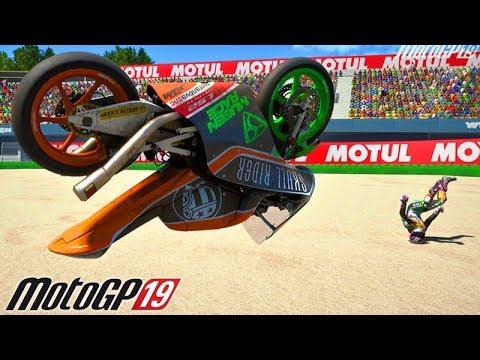 MotoGP 19 - ACIDENTE EXTREMO de MOTO!!! (Com Valentino Rossi)