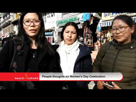 People expressing their views on women's day in Leh