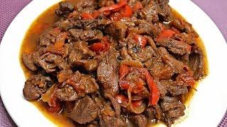 Мясо косули тушеное в красном вине.Дичь с овощами.