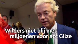 Geert Wilders (PVV) bezocht het azc in Gilze en stak zijn mening over de kosten van 40 miljoen vo...