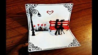 DIY Kissing Couple  Pop up Card-Paper Crafts-Handmade Craft