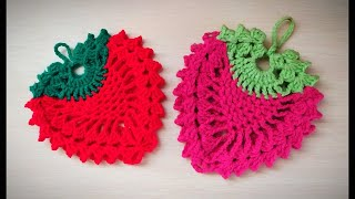 How To Crochet Strawberry Potholder/hot Pad/🍓🍓