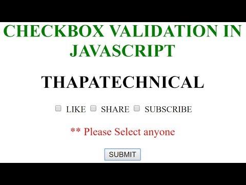 Checkbox Validation using JavaScript in Hindi 2017