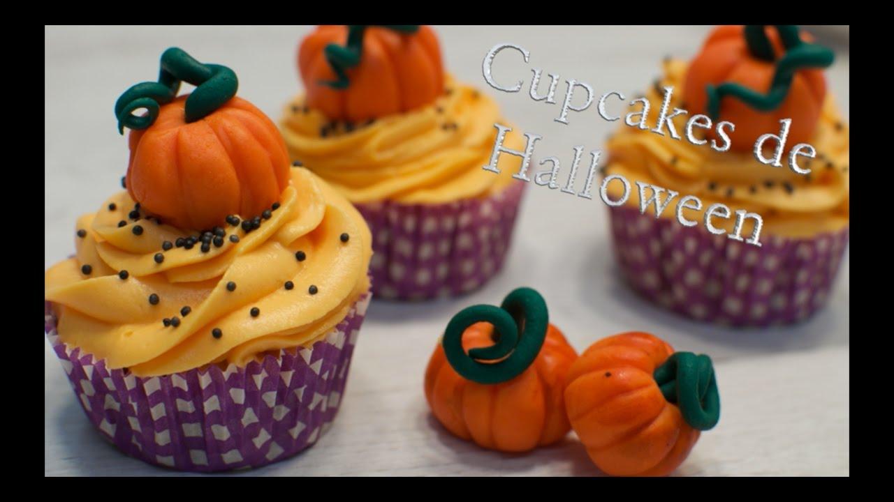 Cupcakes de Halloween - Como hacer Calabazas de Fondant | Cupcakes para halloween
