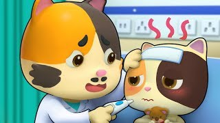 Baby Kitten is Sick   Pretend Play with Doctor Toys   Sick Song, Doctor Song   BabyBus Cartoon
