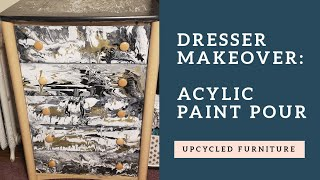Upcycle Furniture With Acrylic Pour Painting   Tutorial   Decorating Ideas On A Budget