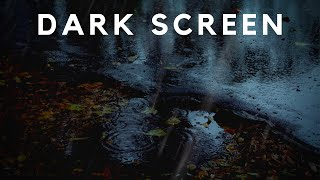 RAIN SOUNDS on Leaves & DARK SCREEN at 1 Hour | Sound of Rain for insomnia Relief, Sleep, Study aid