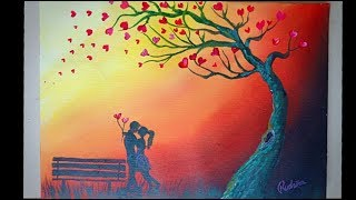 Romantic Couple Under The Heart Leaves Tree | Acrylic Painting Tutorial