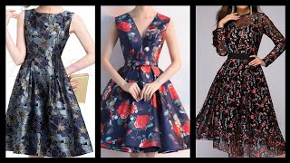 Attractive Colorful Floral Print Designer Knee Length Skater Frocks Dresses Design 2020.