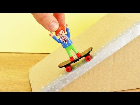 Playmobil JULIAN VOGEL FÄHRT SKATEBOARD IM SKATEPARK | DIY Skaterampe Fingerboard Funbox basteln