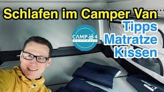 Schlafen im Camper Van (Bulli): Tipps und Einblicke, Empfehlung Matratze und Reisekissen für Komfort