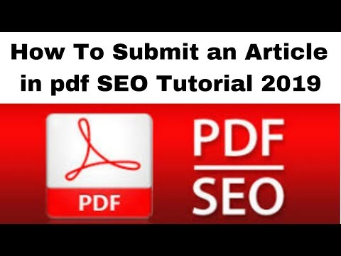 How To Submit an Article in pdf SEO Tutorial 2019