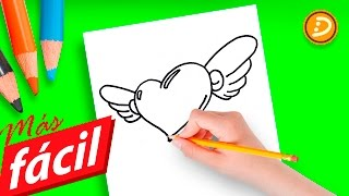 Dibujos de Amor Fáciles de Hacer Paso a Paso | How to Draw a Simple Love Heart With Wings