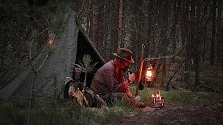 Bushcraft Overnighter In The Black Forest, With My Polish Lavvu, Wool Blanket And Reindeer Skin.