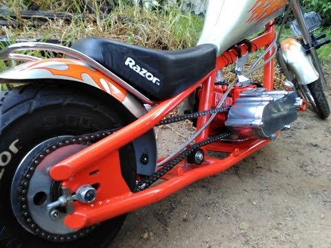 Custom Mini Chopper Pocket Bike 47cc Razor Conversion – OCC Orange County Chopper Tribute – Startup