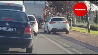 """Konya trafiğinin """"uyanık"""" sürücüsü!"""