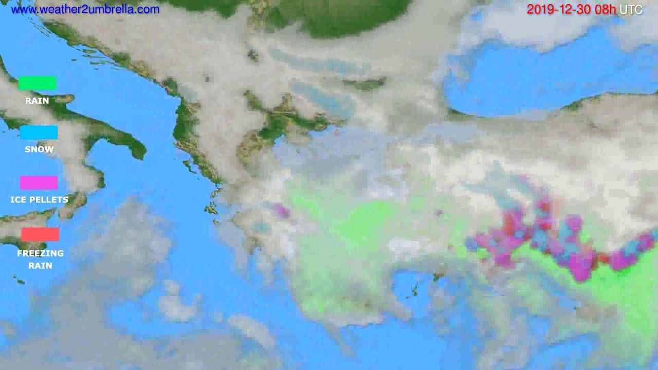 Precipitation forecast Greece // modelrun: 12h UTC 2019-12-29