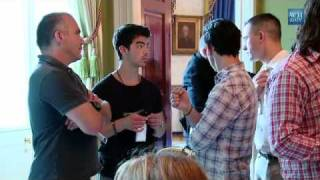 Jonas Brothers singing drive my car by beatles at the white houseHD backstage