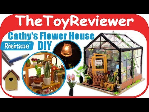 DIY Dollhouse Miniature Robotime Cathy's Flower House Greenhouse Unboxing Toy Review TheToyReviewer