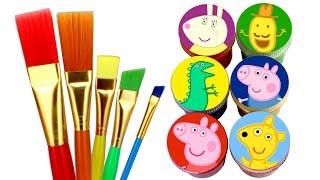 Draw Peppa Pig with Surprise Toys Teddy George Mr. Dinosaur Miss Rabbit Mr. Potato Fun for Kids