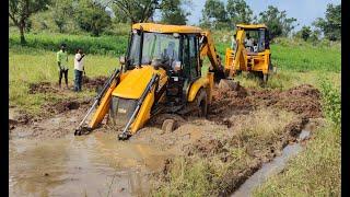 JCB stuck in mud Rescued by another jcb |Jcb videos| | ss saikumar|