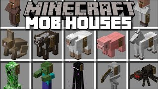 Minecraft MOB HOUSE MOD / SPAWN YOUR OWN MOB HOUSES AND LIVE INSIDE THEM!! Minecraft