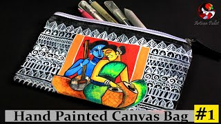 DIY Fabric Painting Idea On Tote Bag | Painting On Canvas Handbag | Free Hand Painting Designs