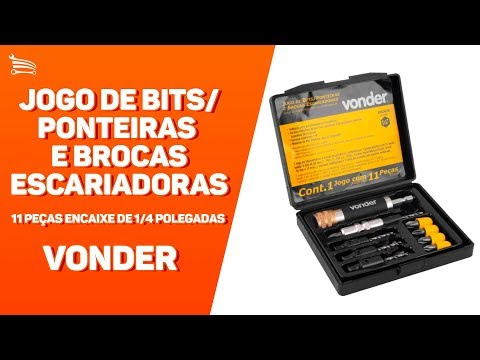 Jogo De Bits/Ponteiras E Brocas Escariadoras 11 Peças Encaixe De 1/4 Polegadas - Video