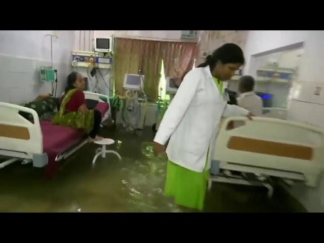 أسماك تعوم في غرف المرضى بمستشفى غمرته مياه الأمطار في الهند
