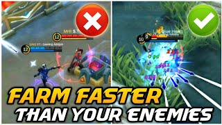 How to FARM FASTER than your ENEMY ? |  FARMING & GANKING Tips | Mobile Legends Bang Bang